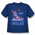 Chilly Willy youth teen t-shirt Chillax royal blue
