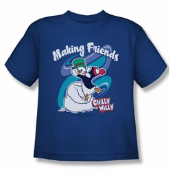 Chilly Willy youth teen t-shirt Making Friends royal