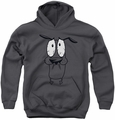 Courage The Cowardly Dog youth teen hoodie Scared charcoal