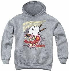 Courage The Cowardly Dog youth teen hoodie Scaredy Dog athletic heather