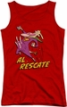 Cow And Chicken juniors tank top Al Rescate red