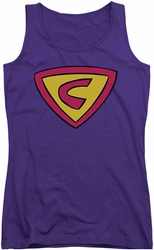 Cow And Chicken juniors tank top Super Cow Logo purple
