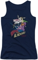 Cow And Chicken juniors tank top Super Cow navy