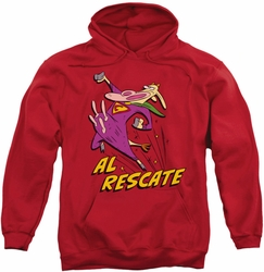 Cow And Chicken pull-over hoodie Al Rescate adult red