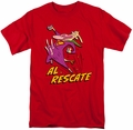 Cow And Chicken t-shirt Al Rescate mens red
