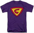 Cow And Chicken t-shirt Super Cow Logo mens purple