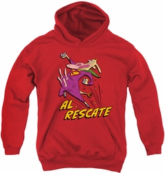 Cow & Chicken youth teen hoodie Al Rescate red