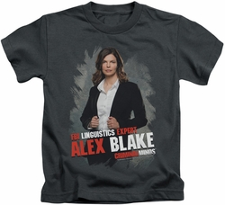 Criminal Minds kids t-shirt Alex Blake charcoal