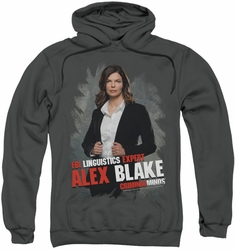 Criminal Minds pull-over hoodie Alex Blake adult charcoal