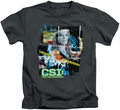 CSI kids t-shirt Evidence Collage charcoal