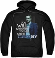 CSI NY pull-over hoodie You Will Answer adult black