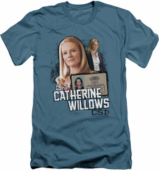 CSI slim-fit t-shirt Catherine Willows mens slate