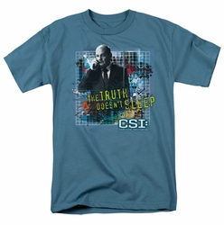 CSI t-shirt Truth Doesn'T Sleep mens slate