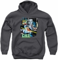 CSI youth teen hoodie Evidence Collage charcoal
