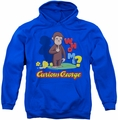 Curious George pull-over hoodie Who Me adult royal blue