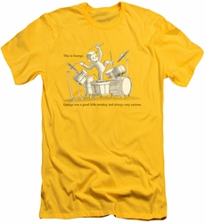 Curious George slim-fit t-shirt This Is George mens yellow