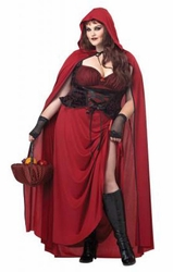 Dark Red Riding Hood adult plus costume