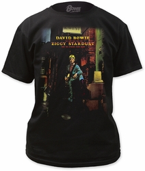 David Bowie ziggy plays guiter adult tee mens black pre-order