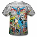 DC Comic front sublimation t-shirt Justice League Assemble short sleeve White
