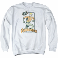 DC Comics adult crewneck sweatshirt Aquaman Action Figure white