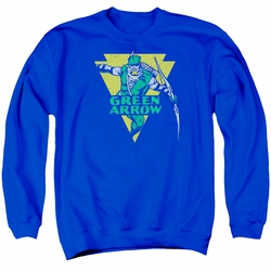 DC Comics adult crewneck sweatshirt Distressed Green Arrow royal blue