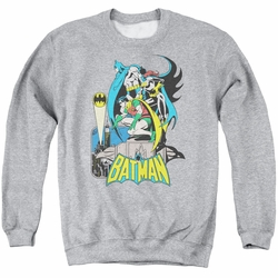 DC Comics adult crewneck sweatshirt Heroic Trio athletic heather