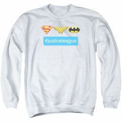 DC Comics adult crewneck sweatshirt Justice League Hashtag JLA white