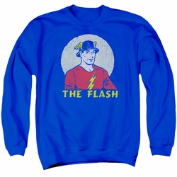 DC Comics adult crewneck sweatshirt The Flash Faded Circle royal blue