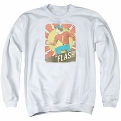 DC Comics adult crewneck sweatshirt The Flash Tattered Poster white