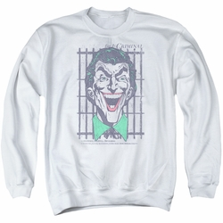 DC Comics adult crewneck sweatshirt The Joker Criminal white