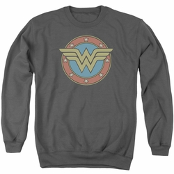 DC Comics adult crewneck sweatshirt Wonder Woman Vintage Emblem charcoal