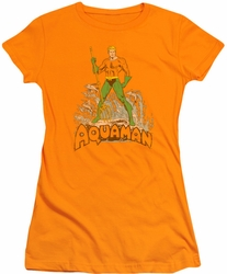 DC Comics juniors t-shirt Aquaman Distressed orange