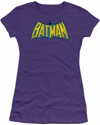 DC Comics juniors t-shirt Classic Batman Logo Distressed purple