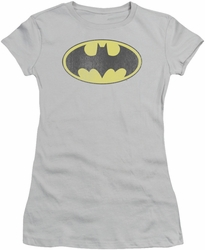 DC Comics juniors t-shirt Retro Bat Logo Distressed silver