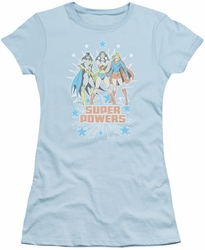 DC Comics juniors t-shirt Super Powers X3 light blue