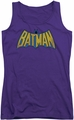 DC Comics juniors tank top Classic Batman Logo Distressed purple
