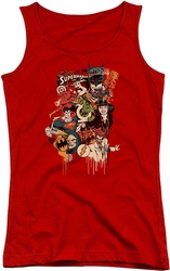 DC Comics juniors tank top Dripping Characters red