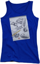 DC Comics juniors tank top Logo Note Paper royal