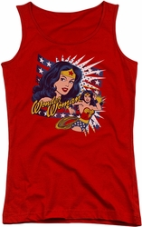 DC Comics juniors tank top Pop Art Wonder Woman red