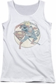 DC Comics juniors tank top Retro Superman Iron On white