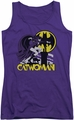 DC Comics juniors tank top Rooftop Cat purple