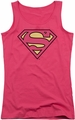DC Comics juniors tank top Superman Classic Logo hot pink