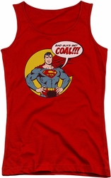 DC Comics juniors tank top Superman Coal red