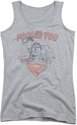 DC Comics juniors tank top Superman Fooled You athletic heather