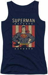 DC Comics juniors tank top Superman Retro Liberty navy