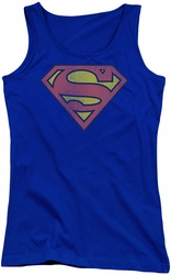 DC Comics juniors tank top Superman Retro Supes Logo Distressed royal