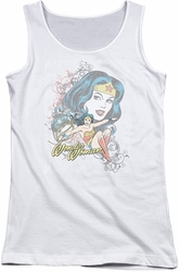 DC Comics juniors tank top Wonder Woman Wonder Scroll white