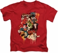 DC Comics kids t-shirt Dripping Characters red
