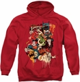 DC Comics pull-over hoodie Dripping Characters adult red