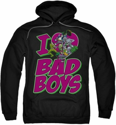 DC Comics pull-over hoodie I Heart Bad Boys adult black